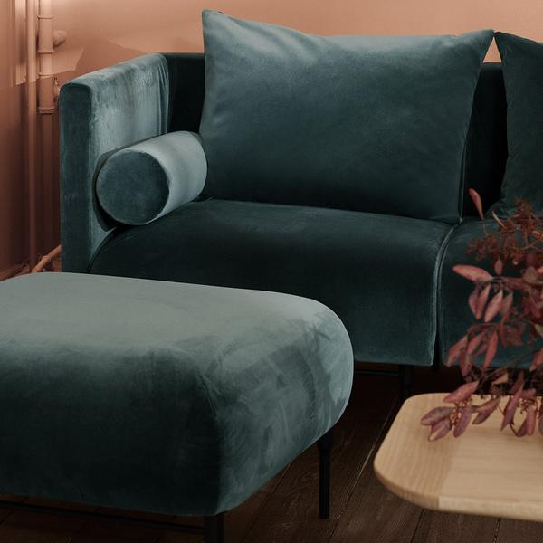 WARM NORDIC GALORE 3-SITS SOFFA, FOREST GREEN. INKL KUDDAR