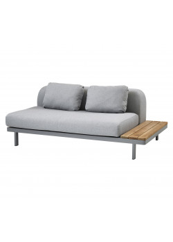 SPACE 2-PERS SOFFA, LIGHT GREY. INKL. DYNSET+RYGGDYNA+TEAK SIDOSKIVA